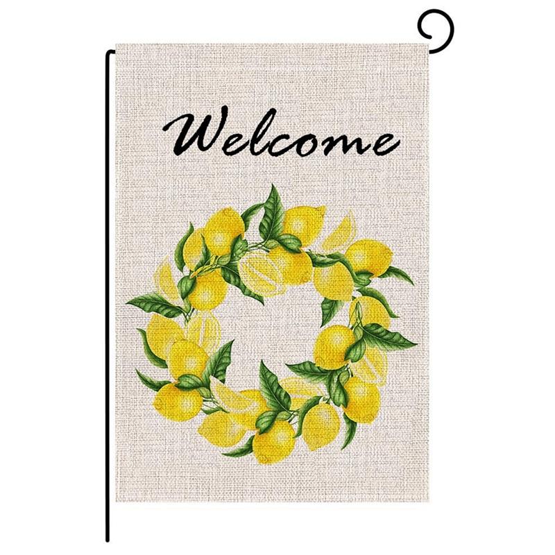 Decor Welcome Print Signs Outdoor Garden Banner//Flag Double Sided Garden Flags