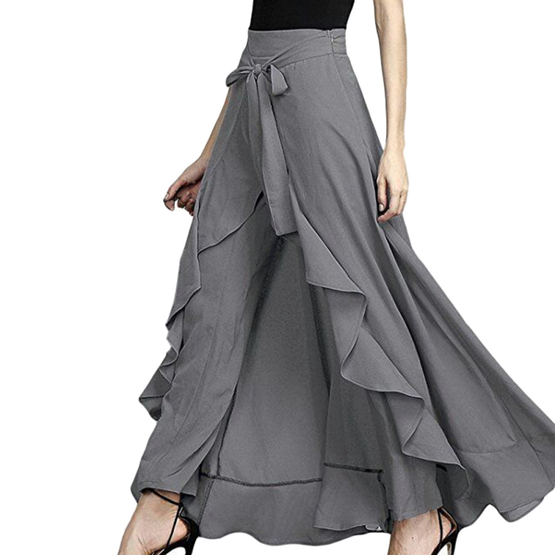 Wrap Skirts Women Fashion Navy Chiffon Tie-Waist Ruffle Wide Leg Loose Pants Clothing
