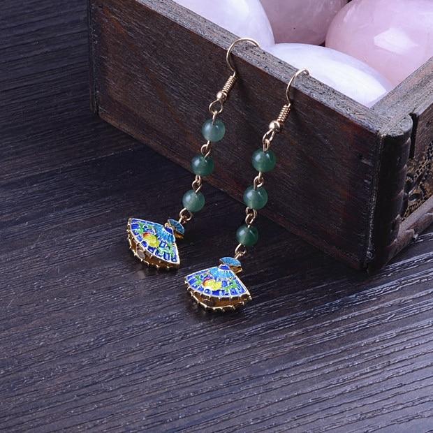 Folk style retro classic green goddess fan Earrings Jewelry show thin face long Tassel Earrings
