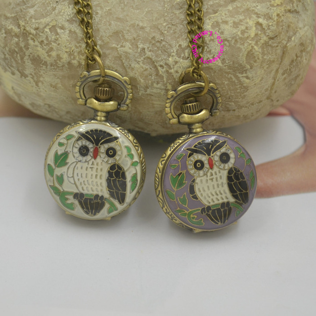 Coupon for wholesale buyer price good quality vintage classic new bronze colorful enamel owl pocket watch necklace with chain