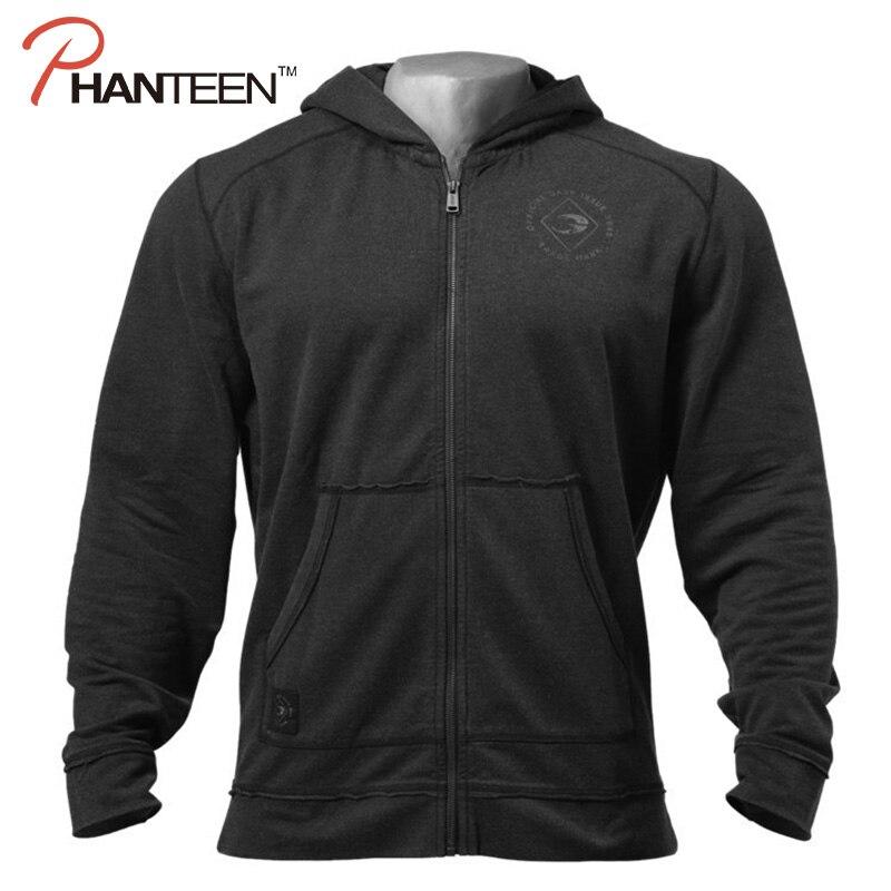 New Bodybuilding Fitness Men's Hoodie Exercise Training Gym Sportswear For Men Pullover For Zipper Long Sleeve Outwear