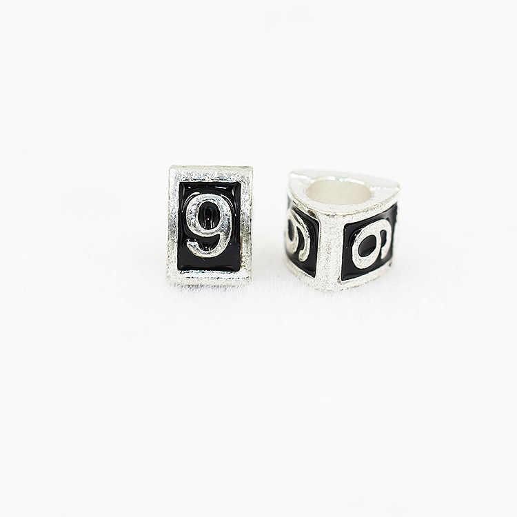 Livraison gratuite 1 pc plaqué numéro européen perle charme fit bracelet à breloques M001