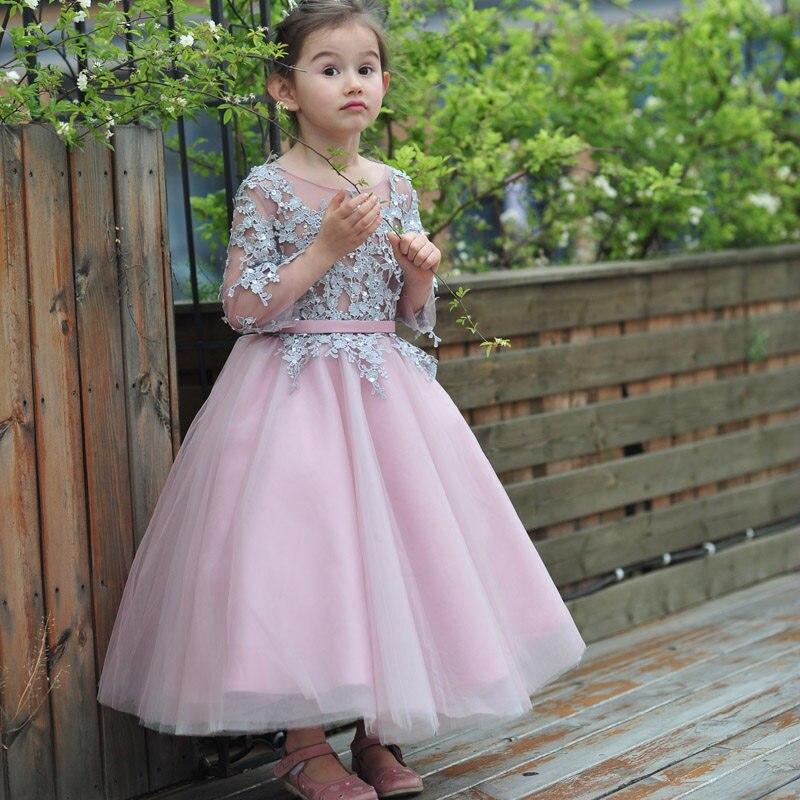 Hot Pink Floor Length Flower Girl Dresses Long Sleeves Appliques Pageant  Dresses for Little Girls Hot Design flover kislany ruha-in Flower Girl  Dresses from ... f96d9f62e5a1