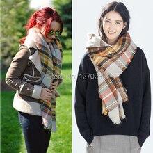 WJ52 2014 New Fashion Wnter Brand Tartan Scarf Shawl Wrap Poncho Scarves Women Warm Colors Plaid Blanket Scarf Free Shipping
