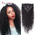 Следуйте за Мной Странный Вьющиеся Клип В Наращивание Волос Волосы Девственницы Kinky Curly Clip Ins Афроамериканца Клип В Человеческих Волос расширения
