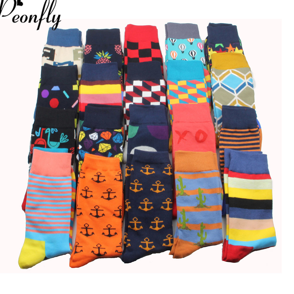 PEONFLY 26 Colors Brand Quality Mens Happy Socks Striped Plaid Socks Men Combed Cotton Calcetines Largos Hombre