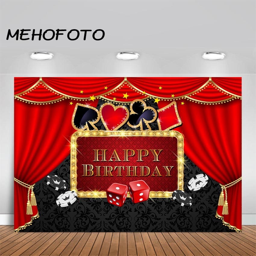 MEHOFOTO Casino Party Backdrop Poker Las Vegas Birthday Party Theme Casino Night Photography Background Decorations Props(China)