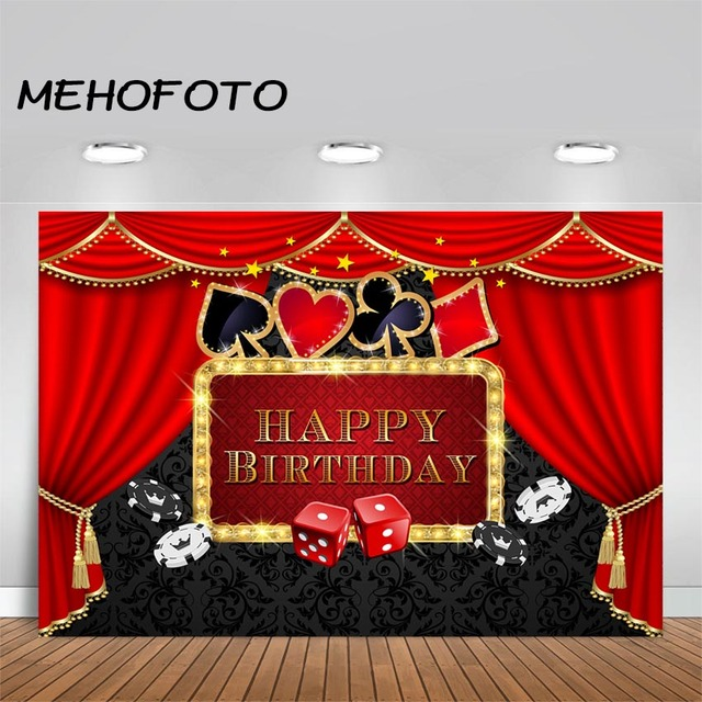 MEHOFOTO Casino Party Backdrop Poker Las Vegas Birthday Party Theme Casino Night Photography Background Decorations Props