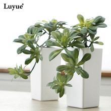 Luyue Simulation flower bonsai Black Master Succulents Green Artificial Plant Tree Hanging Micro landscape fake Flower Pot vase(China)