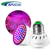 Full Spectrum E27 220V LED Plant Grow Light Bulb Fitolampy Phyto Lamp For Indoor Garden Plants Flower Hydroponics Grow Tent Box cheap Apucoo 5 5cm plastic+metal Grow Lights Efficent Full Spectrum 1 year 4 8cm ROHS LED Bulbs Plant Greenhouse Lights 60leds SMD 2835