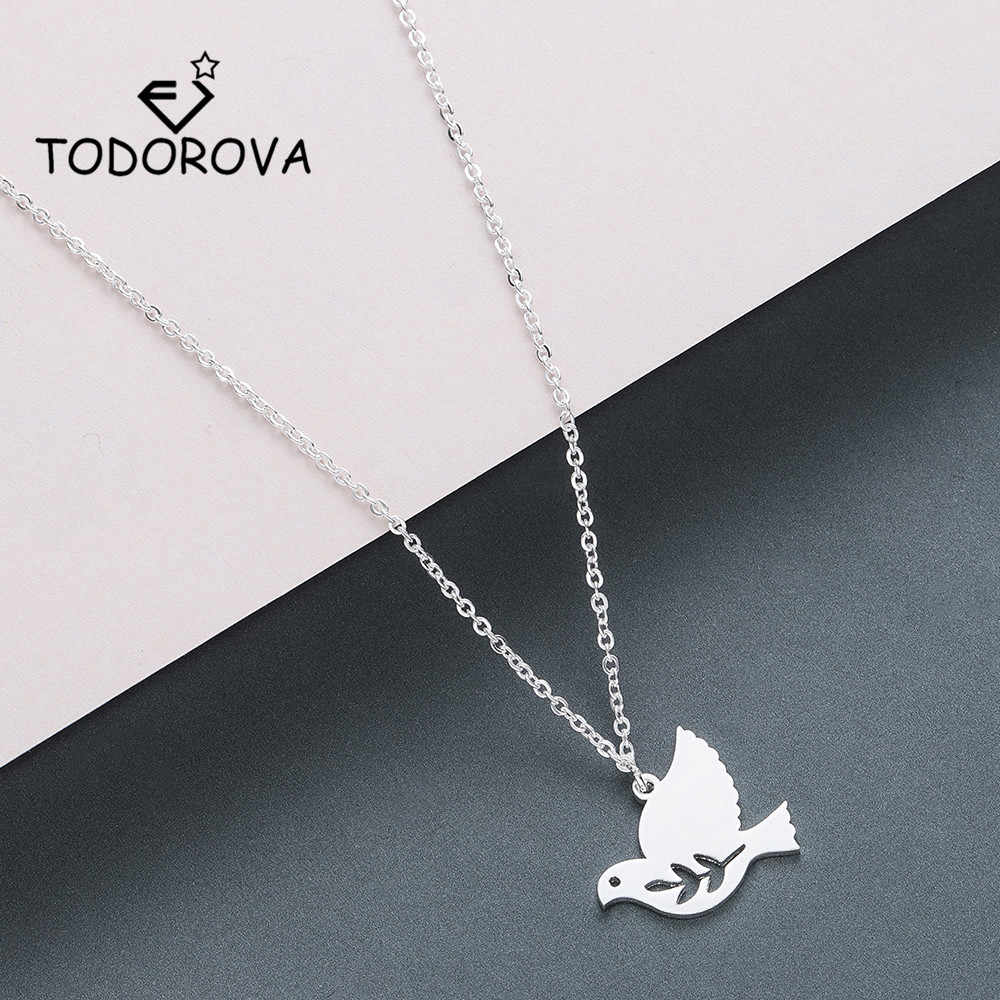 Todorova Peace Dove Bird Pendant Necklace Stainless Steel Jewelry Long Necklace Olive Branch Leaf Necklace Women Accessories