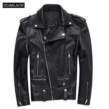 2018 Sheepskin Motorcycle Genuine Leather Jacket Mens Plus Size S-4XL Lapel Moto Biker Jacket Zipper Black Short Leather Coats