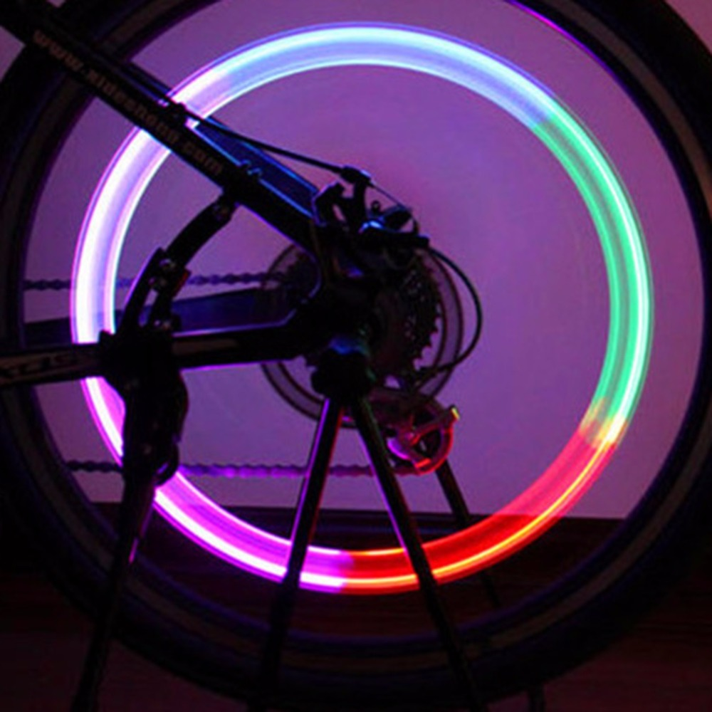 High Quality Ultra Bright 1pc Cool Bike Bicycle Cycling MTB Wheel Tire Air Valve Stem Cap Multi Color LED Light Bike Accessories