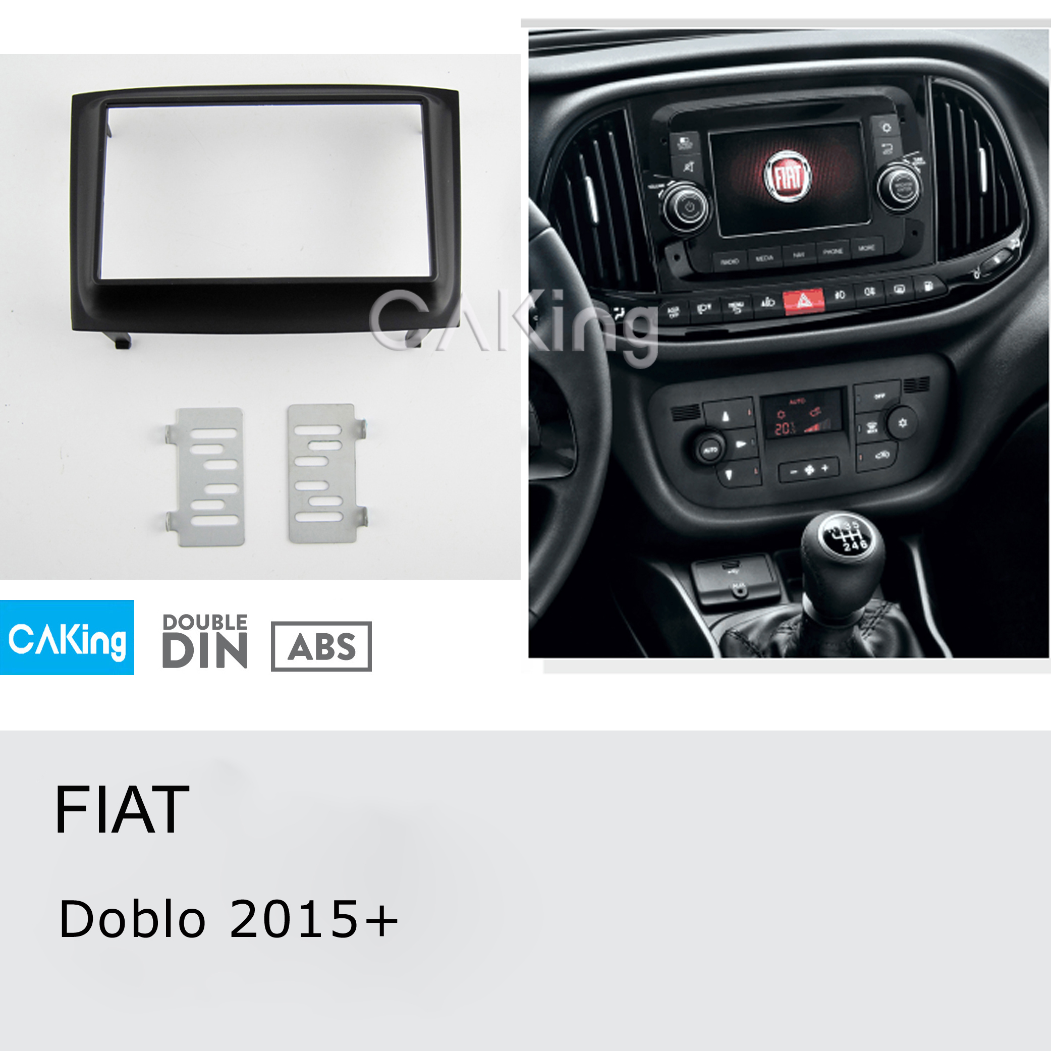 Double Din Car Fascia Radio Panel for FIAT Doblo 2015 Audio Frame Dash Fitting Kit Facia