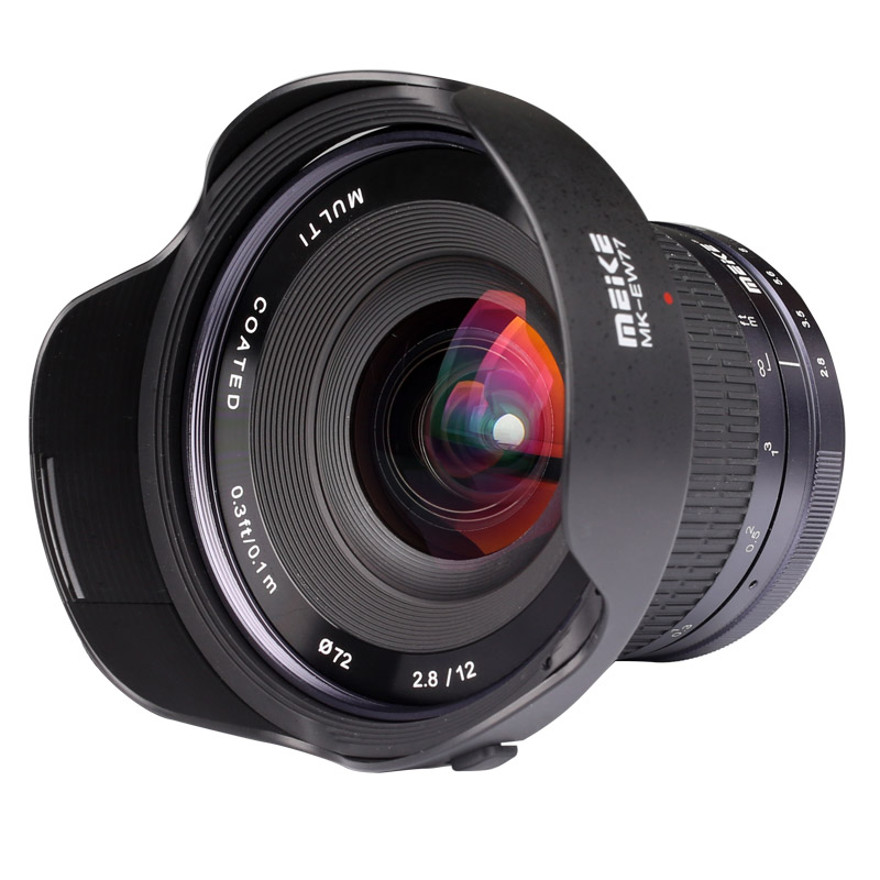 Meike 12mm f/2.8 Wide Angle Manual Focus Lens for Panasonic Olympus Mirrorless Camera with APS-C meike 12mm f 2 8 wide angle fixed lens with removeable hood for panasonic olympus mirrorless camera mft m4 3 mount with aps c