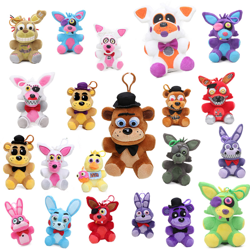 14CM Five Nights At Freddy's 4 Plush Pendant FNAF Foxy Chica Bonnie Golden Freddy Nightmare Fredbear Bear Keychain Toys