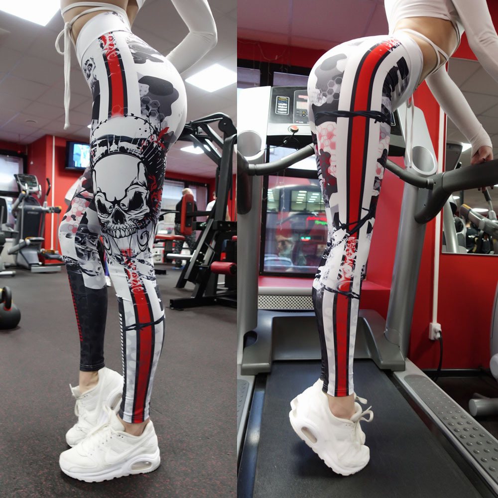 Skull 3D Print Fitness Leggings WOmen Sexy High Waist Leisure Legging Workout Quick Dry Gothic Sporting Pants Workout Leggins