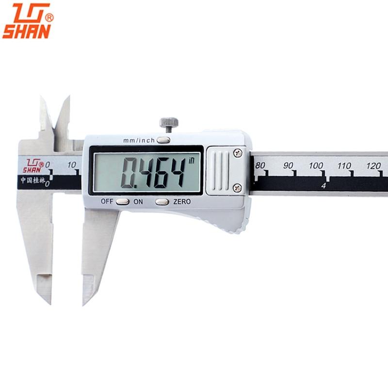 Pinzas digitales SHAN 0-200 150mm Acero inoxidable gran LCD pulgadas/mm Vernier calibrador electrónico micrómetro herramientas de medida