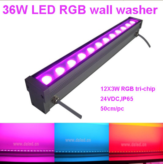 IP65,CE,good quality, high power 36W RGB LED wall washer,RGB LED wash light,12*3W RGB 3in1,24VDC,DS-T21A-36W-RGB,50cm/pc