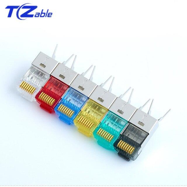 Cat6 Cat7 RJ45 konektörü Ethernet adaptörü 8P8C ağ genişletici uzatma kablosu altın kaplama kalkan modüler RJ 45 konnektör