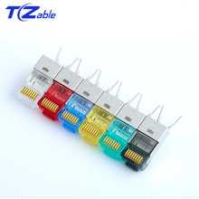 Cat6 cat7 rj45 conector ethernet adaptador 8p8c cabo de extensão extensor de rede banhado a ouro escudo modular rj 45 conector