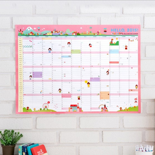 2015 Year Calendar Wall Planner Plan Daily Schedule Lovely Paper