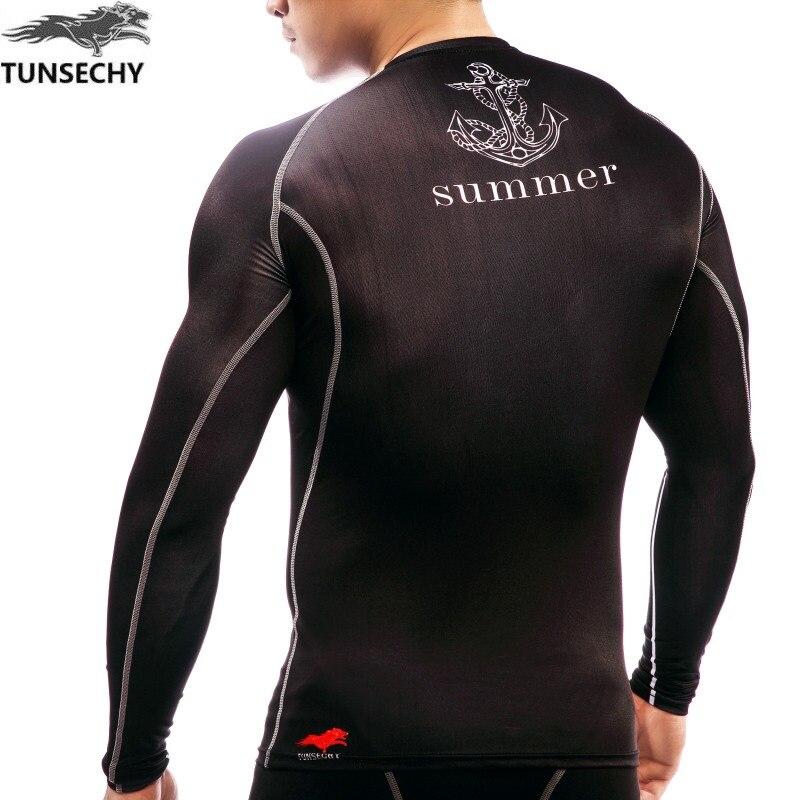 TUNSECHY marka 2017 Yeni Spor Sıkıştırma Gömlek Erkekler - Erkek Giyim - Fotoğraf 5