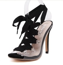 European classic transparent sexy high heel sandals women party clubwear fetish slingback open toe sandals gladiator pump heels
