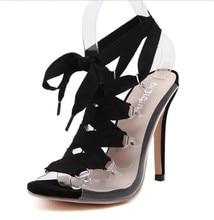 European classic transparent sexy high heel sandals women party clubwear fetish slingback open toe sandals gladiator pump heels