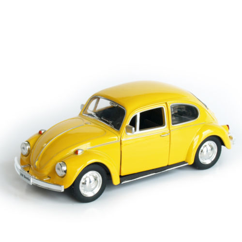 Volkswagen 1/32 Scale Diecast Mini Car Model 1967 Beetle Yellow Vintage Diecast Pull Back Car Kids Toys Collections