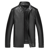 High quality natural sheepskin leather jacket men classic style stand collar casual real leather coat plus size M 4XL
