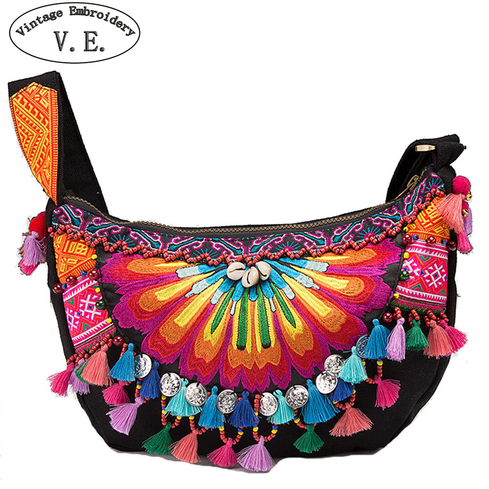 Vintage Embroidery Handbag Ethnic Boho Handmade Embroidered National Original Floral Tassel Women Shoulder Messenger Bags national embroidered bags embroidery unique shoulder messenger bag vintage hmong ethnic thai indian boho clutch handbag 25 style