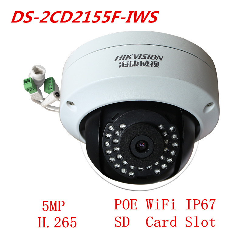 Hikvision Camera Multi-Language DS-2CD2155F-IWS WIFI Dome IP Camera Support PoE H.265 CCTV Security System Network Camera new 4mp multi language h 265 h264 ip poe dome camera board lens 2 8mm support web cam p2p view