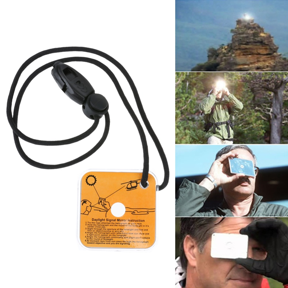 Outdoor Survival Tool Mirror Emergency Kit Reflective Survival Signal Mirror With Whistle Camping Equipment For Long Distance