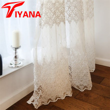 Luxury Sheer Voile Curtains For Living Roon Bedroom Balcony Solid Embroidered Window Screening Drapes White Cortinas HP009Z30