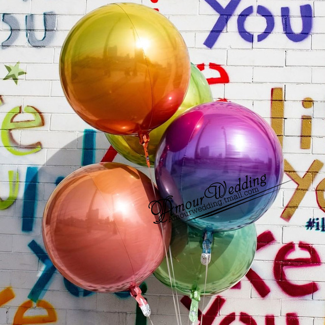 20pcs 22inch 4D Gradient color Round Balloons Colorful Global Wedding Decoration Brithday Party Decor Helium Foil Balloons