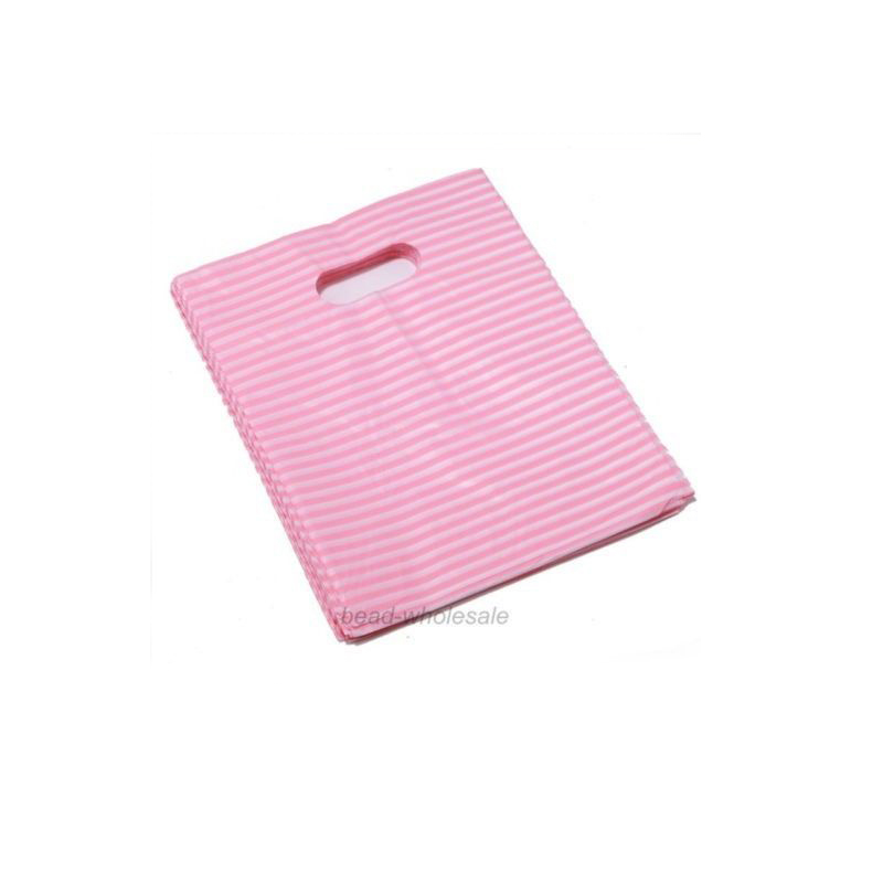Pink White Horizontal Stripes Plastic Jewelry Gift Bag Handbag Jewelry Shopping Packaging Bags Pouch Jewelry Boxes and Packaging