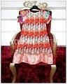 Nueva primavera y el verano 2017 hecho a mano estéreo piedras decorativas botón sweet flor impreso pink dress
