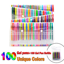 100 Color Gel Pens Set Neon Metallic Glitter Sketch Drawing Staionary Art Supplies for Adults Coloring Books+100 Refills