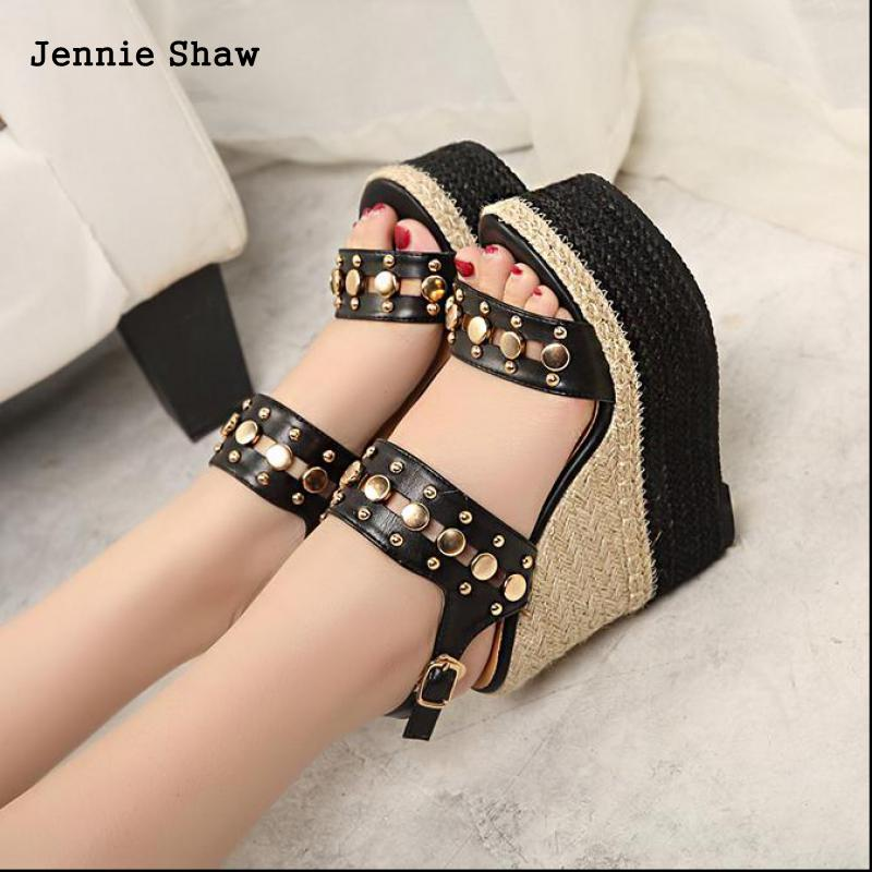 High Heel Sandals Women Wedges Shoes Strew Heel Strap Sandal Sys 1116