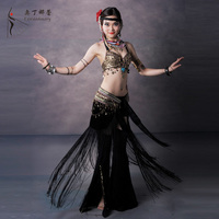 Dancewear Tassel And Metal Performance Belly Outfit For Ladies Belly Dance Tribe Costumes 3PCS K0060 WJ00025