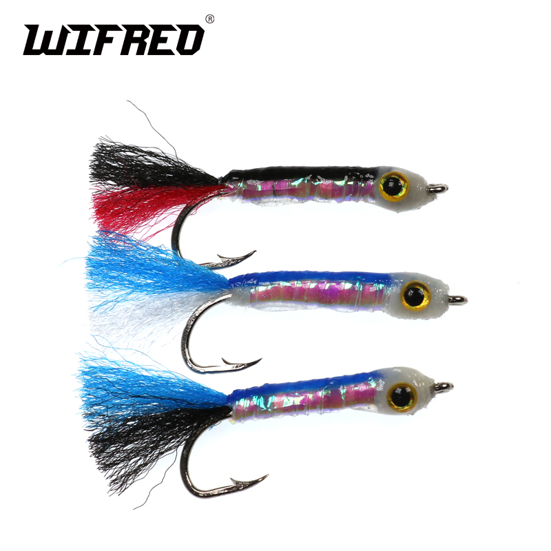 Wifreo 3PCS Size 8# Fly Fishing Lure Fish Bait Sinking Wet Flies for Carp Bass Salmon Fishing Minow salmon