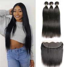 Black Pearl 13x4 Frontal With Bundles Brasilian Straight Human Hair Bundler Med Frontal Closure NonRemy 3 Bundler Med Frontal