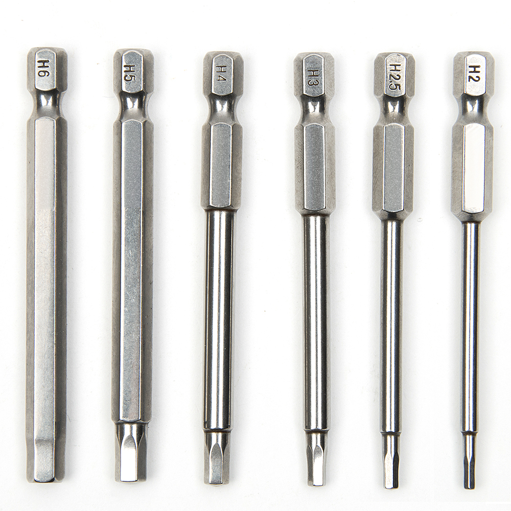 6pcs 75mm S2 Steel Inner Hexagon Head Magnetic Drill Screwdriver Set Bits Screw Driver Screwdrivers Kit Hand Tools 6pcs 50mm slotted screwdriver bits set 2mm 6mm s2 alloy steel magnetic flat head slotted tip nozzles for screwdrivers bit set