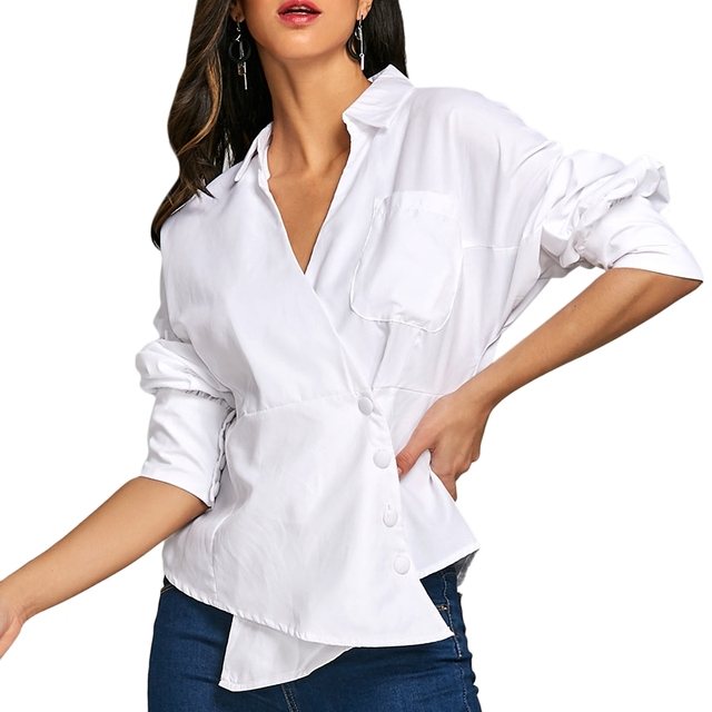 f67f8b9a0aa Spring Fashion Dolman Sleeve Asymmetric Blouse with Button 2018 Long Sleeve  White Blouses Blusas Femininas Formal Ladies Tops