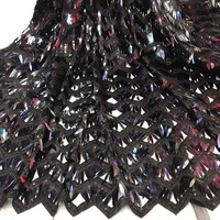 Black french lace fabric sequins embroidered tulle lace fabric high quality bridal lace fabric for african dress X18872