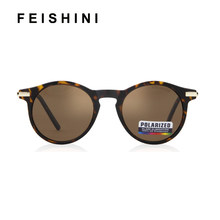 FEISHINI Frosted Texture Frame Sun Glasses Round Black Vintage Fashion UV400 Men Sunglasses Women Polarized Brand Designer 2019(China)