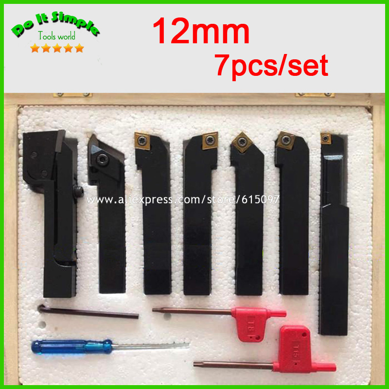 7pcs/set 12mm Hard Alloy Blade with Coating Turning Tool, CNC Lathe Tool Kits Cutter , Durable Cutting Tools zcc ct cutter bar pdnnr l2020k15 p hole clamping tool holders external turning tools cnc lathe tool holder for dn series