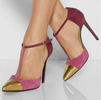 Sexy Pink Suede Leather Pump Women Shoes Gold Metal Toe T bar Ankle Strap Wedding Shoes Bride Cut out Women Shoes High Heels
