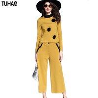 TUHAO 2017 Autumn Women Set Yellow Color Elegant Long Sleeve Shirt Wide Leg Pant Two Piece